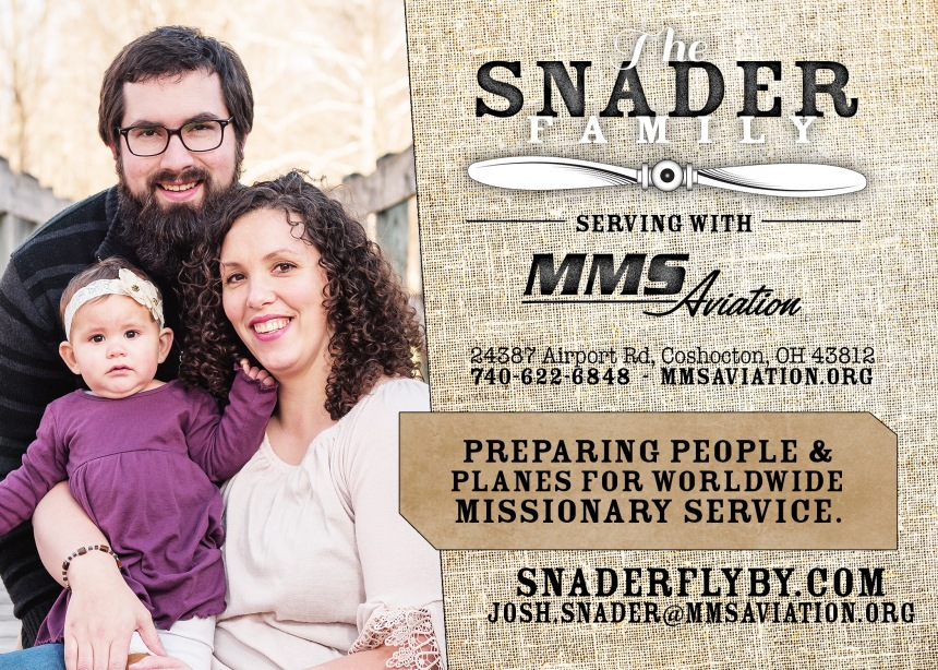 Snader Family and MMS Aviatioin prayer card