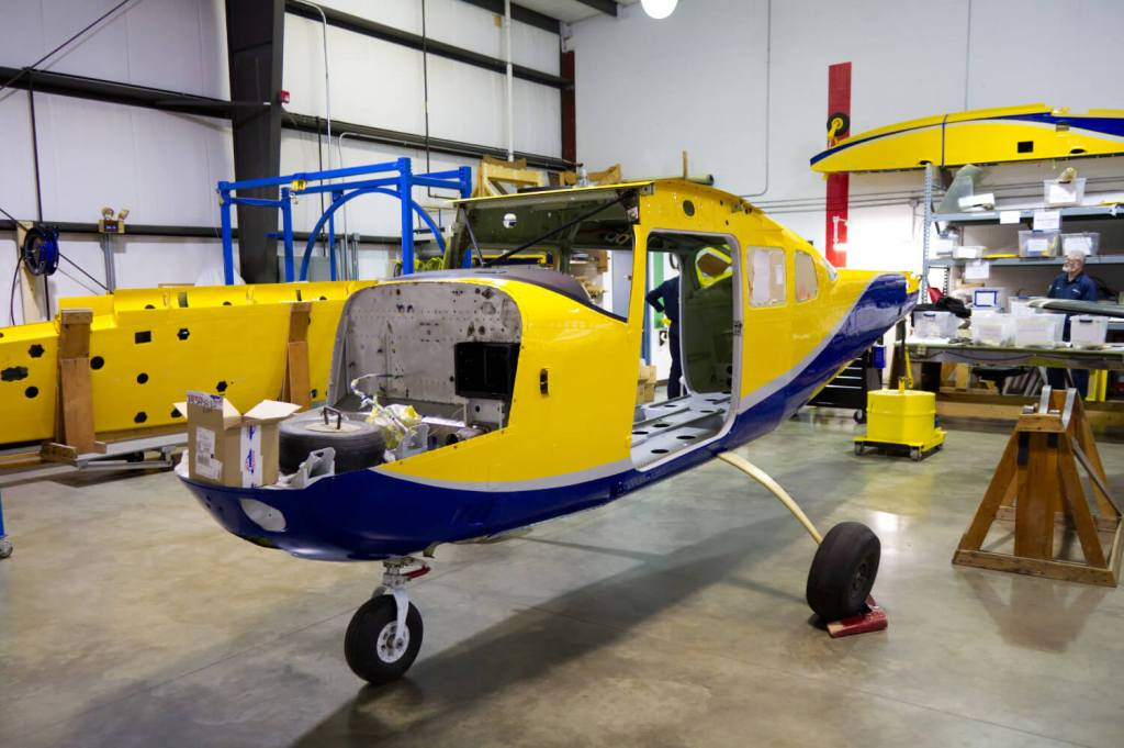 Amphibious Cessna 206 being assembled at MMS Aviation for work in mission aviation.