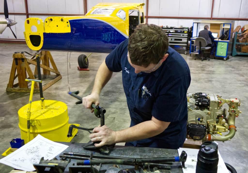 Assembling Cessna 206 rudder pedal at MMS Aviation