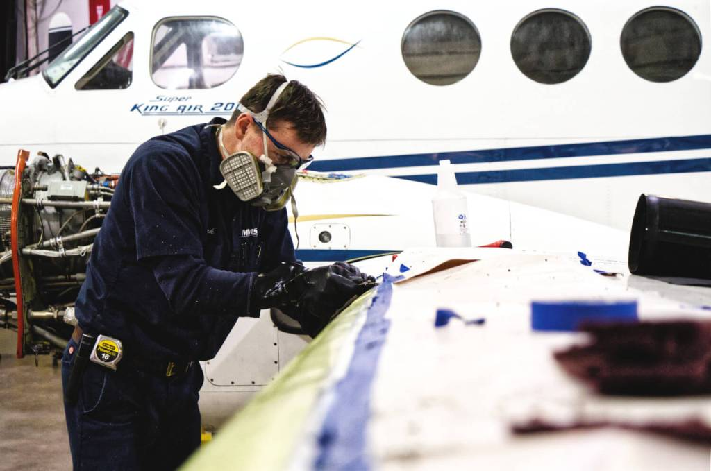 Replacing de-ice boots on a Super King Air 200 at MMS Aviation